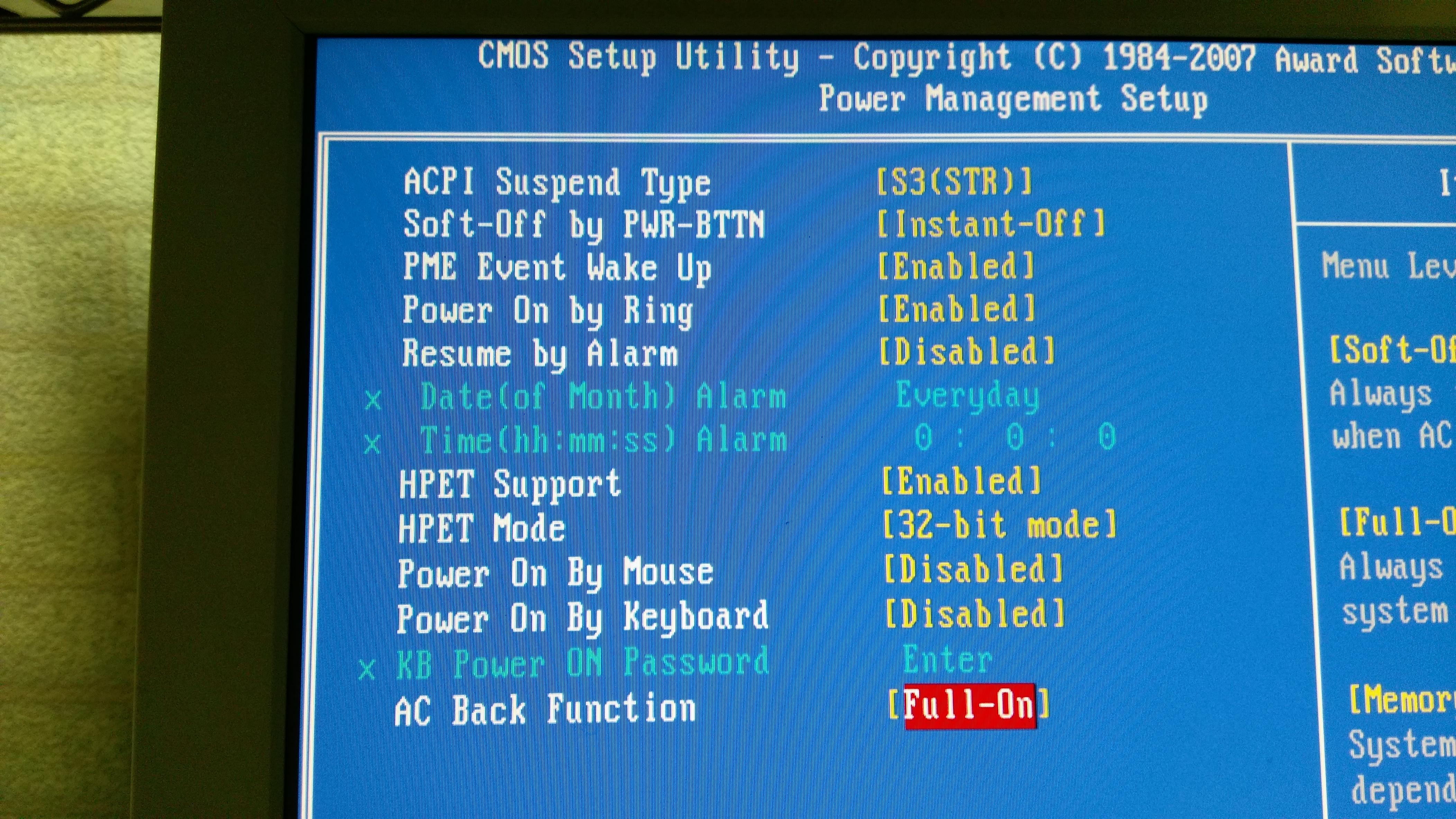 恢復供電時讓電腦自動開機