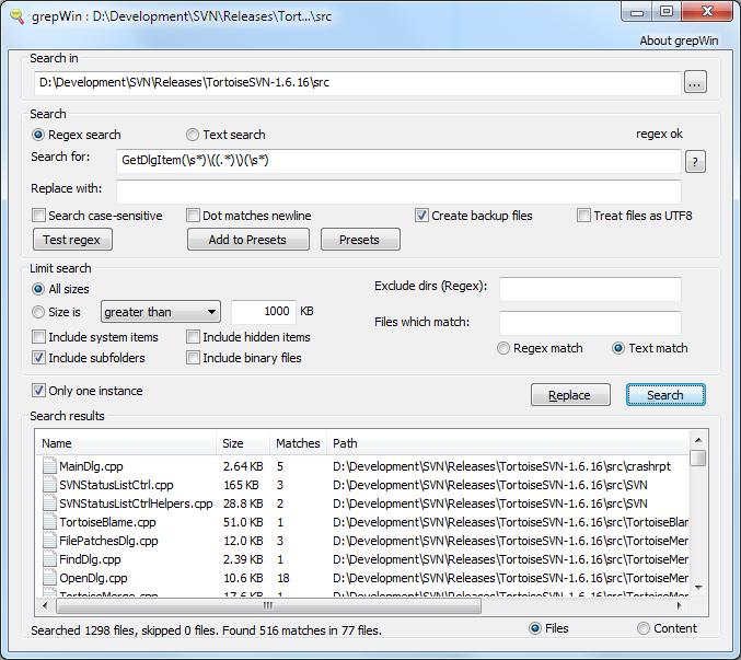grepWin 搜尋取代多檔案內容