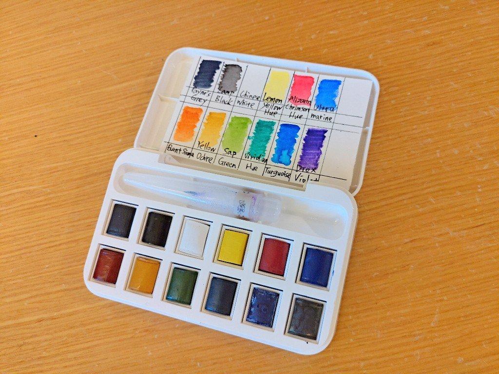 外出隨身型的水彩用具介紹 溫莎牛頓塊狀水彩 吳竹自來水筆