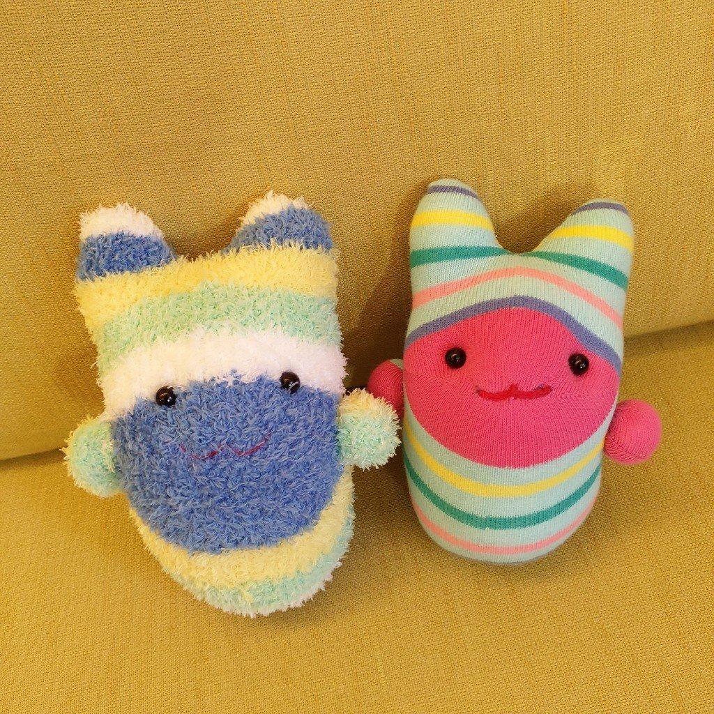 芒果媽的襪子娃娃手作作品與材料介紹